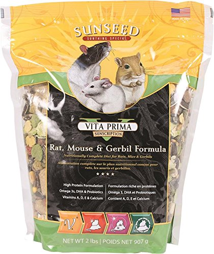 SUNSEED COMPANY 36044 1 Piece Vita Prima Rat-Mouse & Gerbil Formula Food Treat, 2 - Rat Vita