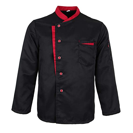 Chef Uniform Work Wear Cooking Waiter Restaurant Long Sleeve Shirt Jackets Black 2xl As Described Amazon In Clothing Accessories