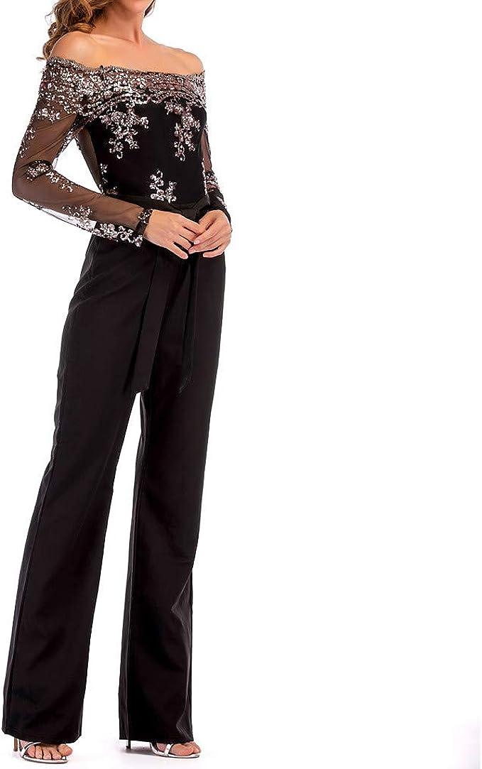 JERFER Jumpsuit Donna Rompers Overall Tuta da Donna A Gamba Larga in Pizzo  con Spalle Scoperte: Amazon.it: Abbigliamento