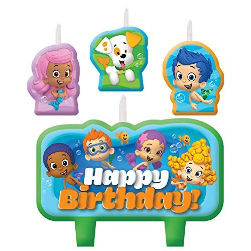 Amscan 171425 Candle Set | Bubble Guppies Collection | Birthday | 6 Sets, Multicolor