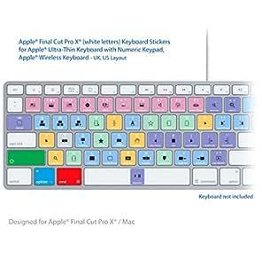 Final Cut Pro Laptop clave Atajos de Teclado Pegatinas Etiquetas letras blancas) / MAC
