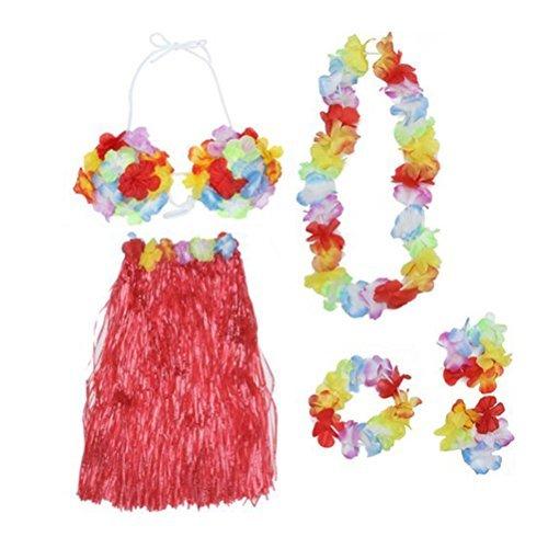 Tinksky Tropical Hawaiian Luau Flower Lei Party Favors (Red) (Lei Skirt)