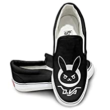 PTCY Ow D.VA BUNNY Canvas Unisex Flat Canvas Shoes Sneaker Black