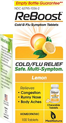 MediNatura ReBoost Natural Cold/Flu Symptom Relief, Non-Drowsy - 100 Tabs - Lemon