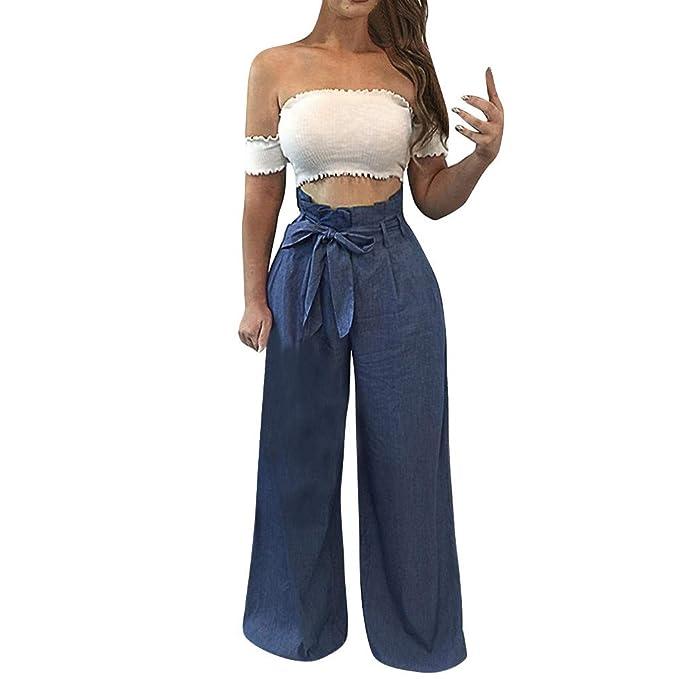 Amazon.com: Pantalones de mujer a rayas Palazzo Paper-Bag ...