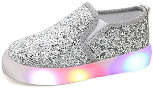 UBELLA Girl's Light Up Sequins Slip On Loafers Flashing LED Casual Shoes Flat Sneakers (Toddler/Little Kid) Silver