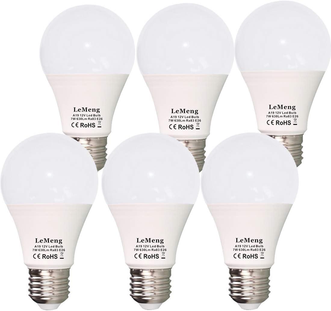 12V LED Bulb E26 7W 630Lm 12 Volt Low Voltage Lights AC/DC 11-16V E27 A19 Edison Lamp(3000K Warm White)40-60 Watt Bulbs Equivalent-12volt Battery Power System Interior Off Grid Solar Lighting- 6 Pack