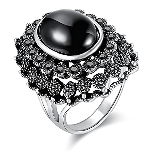Dnswez Vintage Black Resin Marcasite Crystal Big Statement Cocktail Rings for Women(7) - Big Stone Ring