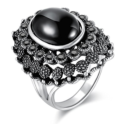 Dnswez Silver Oxidized Black Stones Marcasite Crystal Big Statement Cocktail Rings for Women(9) (Fashion Women Rings)