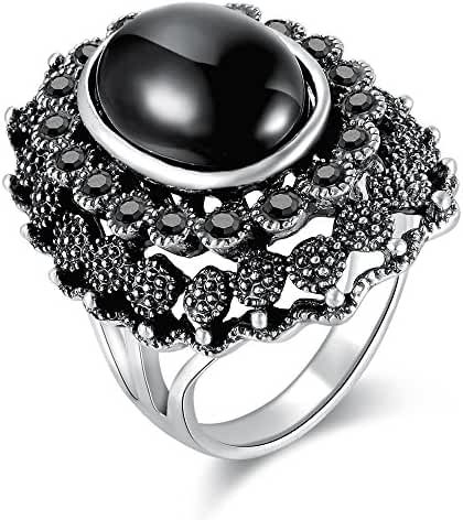 Dnswez Vintage Decorative Pattern Marcasite Crystal Black Resin Cocktail Rings for Women