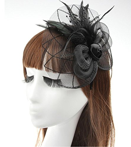 Black Big Flower Mesh Feather on Hair Clip Headwear Fascinator,Wedding Headwear Bridal Headpiece for Women (Black)