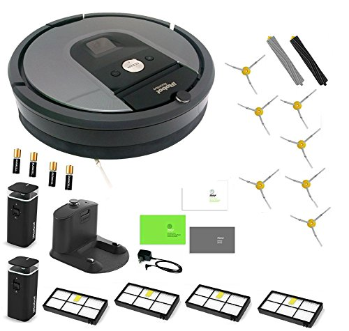 iRobot Roomba 960 Robotic Vacuum Estate Bundle. Total Bundle Contains: Grey 960 Vacuum with 2 Dual-Mode Virtual Wall Barrier, 1 Extra Filter, 7 Extra Side Brushes, 4 AA Batteries.