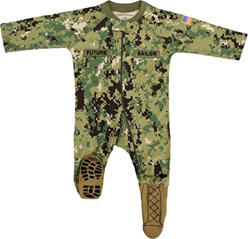 U.S. Navy Baby Boys NWU Camo Crawler with Recruit Boots (0-3 Months)