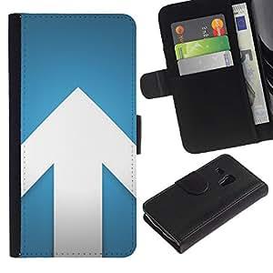 For Samsung Galaxy S3 MINI NOT REGULAR! I8190 I8190N,S-type® Arrow Blue White Minimalist Design - Dibujo PU billetera de cuero Funda Case Caso de la piel de la bolsa protectora