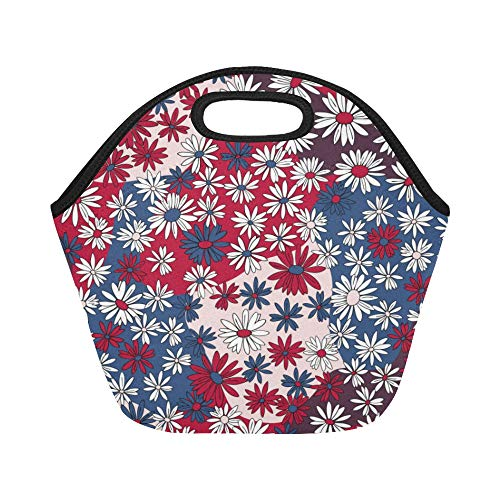 Insulated Neoprene Lunch Bag Vector Seamless Floral Pattern