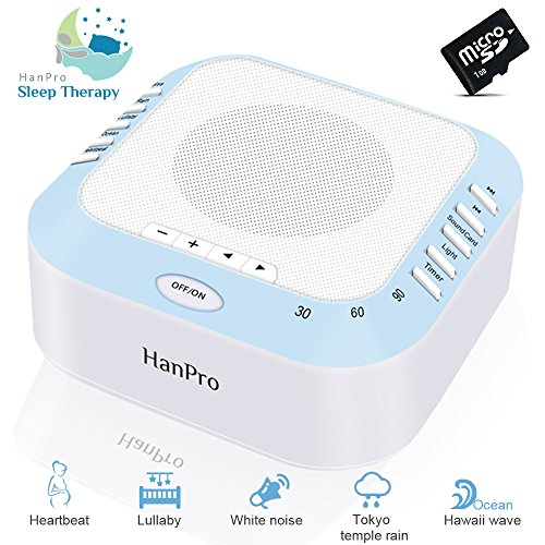 White Noise Machine With 5 Natural Sound Options, Nighttime Light & Auto-Timer Function, Idea for Tinnitus Sufferers, Light-sleepers & Infants etc.