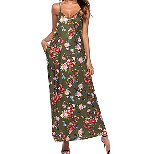 HGWXX7 Womens Fashion Summer Bohemian Floral Print Sleeveless Sling Long Dress (XL, J-Green) -