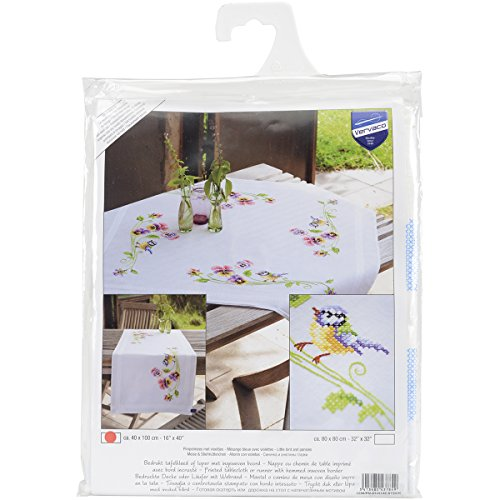 Vervaco Little Birds and Pansies Table Runner Stamped Embroidery Kit, 16