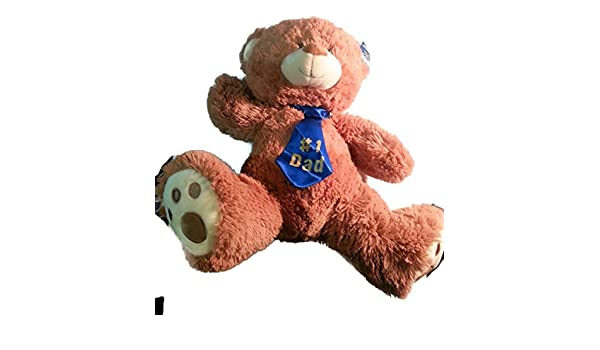 Amazon.com: Plush Bear (Oso De Peluche) With Tie (# 1 Dad) - Light Brown (Tan) - Approx 20 in H x 13.5 in W x 7.5 in D: Toys & Games