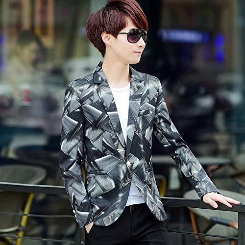 Style Bouton Un De Décontractée Costume Fit 1 Classique À Blazer Imprimé Veste Kindoyo Hommes Slim qT7OOS