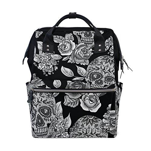 Sugar Skull Dia De Los Muertos Mommy Bag Mother bag Travel Backpack Diaper Bag Daypack Nappy Bags for Baby Care Large Capacity ()