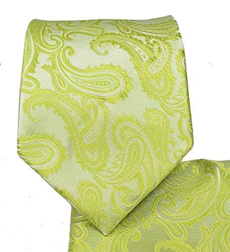 Men's Paisley Necktie Set (Lime Green) #600-L