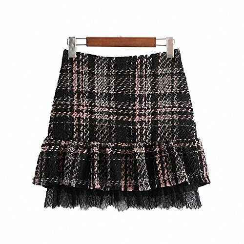 Lace Ruffled Mini Skirt - Dawery Womens Ruffled Tweed Lace Patchwork Plaid Skirts Back Zipper Cute Ladies Vintage Casual Mini Skirt Faldas Mujer S