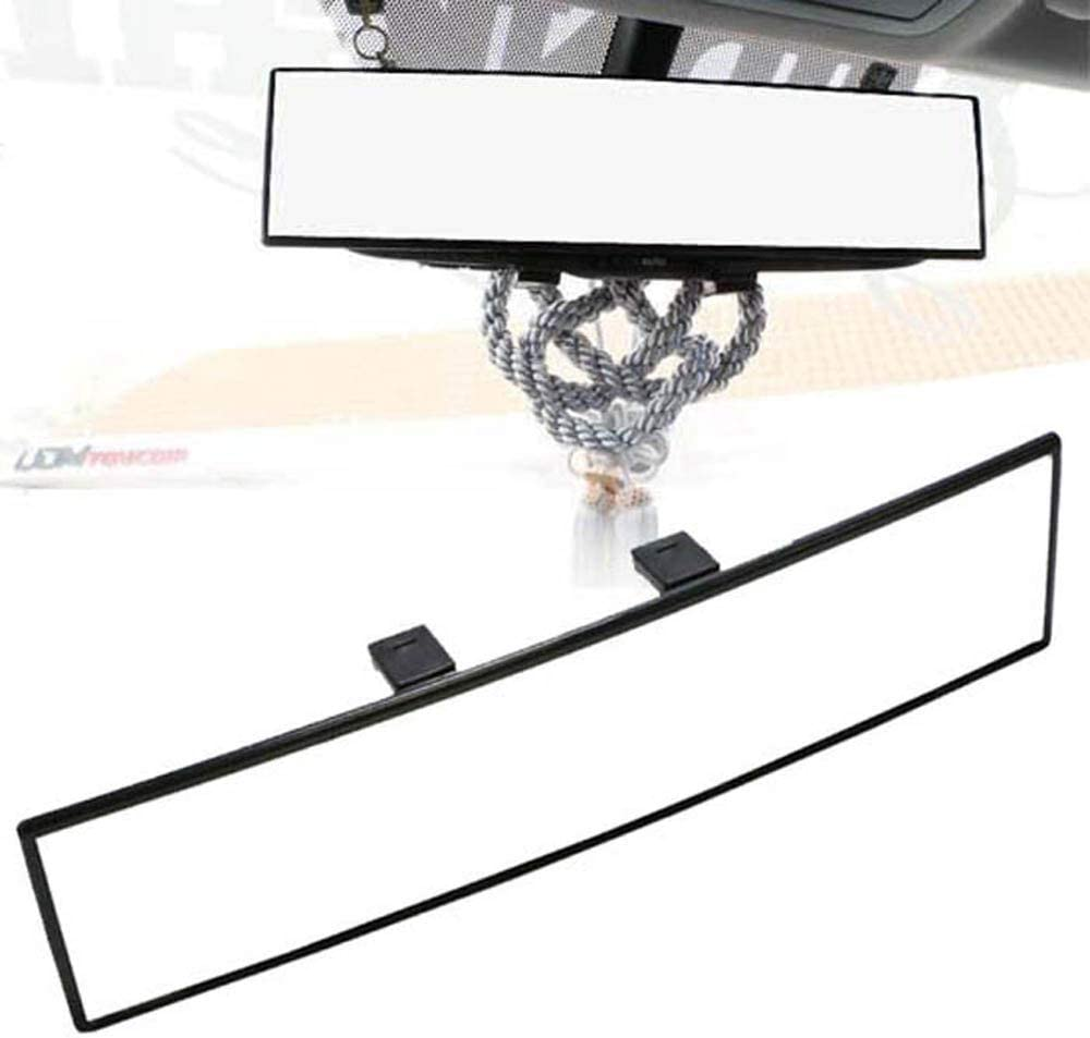 iJDMTOY Universal Fit JDM 300mm 12-Inch Wide Curve Clip On Rear View Mirror Compatible With Car SUV Van Truck, etc