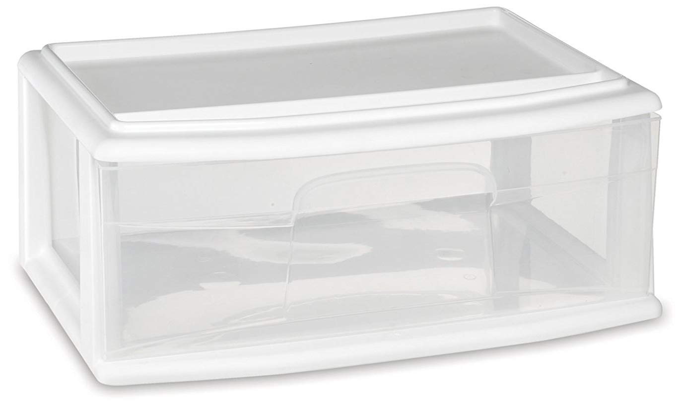 HOMZ Plastic Underbed Wide Storage Drawer, Stackable, White Frame, Clear Drawers, Pack of 3 by Homz