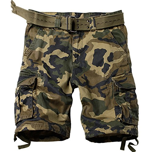 MUST WAY Men's Multi Pocket Slim Fit Cotton Twill Cargo Shorts 8062# M Jungle Camo 36 by MUST WAY