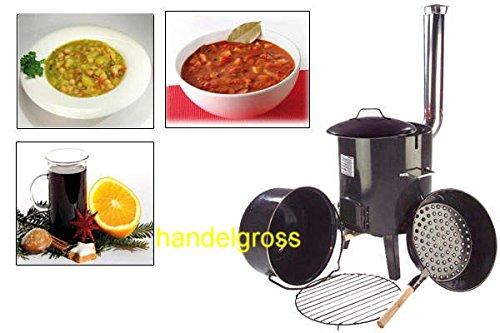 Eintopfofen Glühweinofen Feldküche Suppenkessel Maronipfanne 14 l handelgross