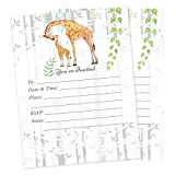 Giraffe Baby Shower Jungle Safari Invitations 20 count with envelopes