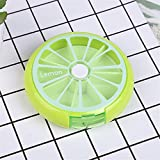 BOSOMEE Weekly Rotating Pill Box Travel Pill Case Pill Organizer Medicine Box 7 Day Green