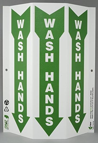 ZING-4062-Eco-Public-Facility-Tri-View-Sign-Hand-Wash-Station-12Hx9W-Projects-3-Inches-Recycled-Plastic
