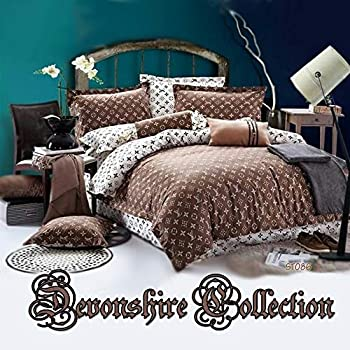 Image of Devonshire Collection 600 Thread Count, 100% Cotton King Size 4PCs Bedding Set (Quilt Cover, Fitted Sheet, 2xPillow Case) Fits Mattress Up to 15'' Deep. Art No:ST086K Home and Kitchen
