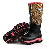 TideWe Hunting Boot for Women, Insulated Waterproof Durable 15'' Women's Hunting Boot, 6mm Neoprene and Rubber Outdoor Boot Realtree Edge Camo(Pink Size 6)