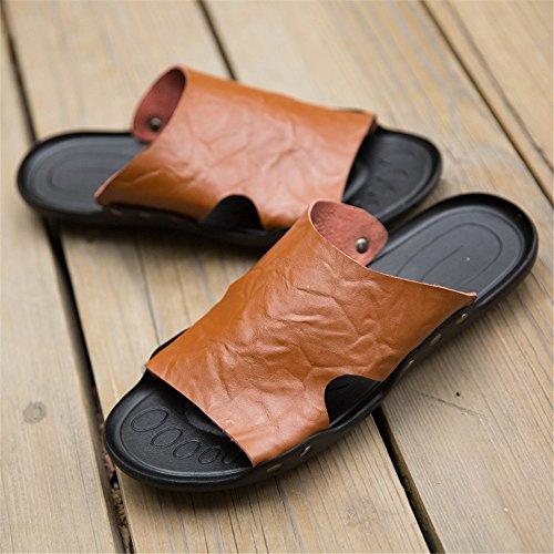 Sandali vera Color Dimensione con da pelle morbida BINODA da suola 44 antiscivolo Marrone uomo Pantofole in EU Sandali spiaggia Nero 6R1zW