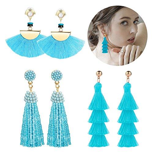 Adramata Blue Tassel Earrings for Women Girls Dangle Drop Earring Set