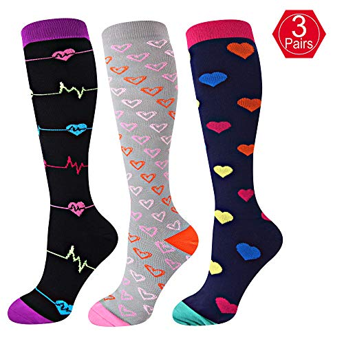EHbee 3 Pairs Compression Socks for Women & Men 15-20 mmHg, Perfect Compression Stockings for Nurse,Running, Maternity Pregrancy, Flight, Travel, Medical,Sport. (Assorted1, L/XL) by EHbee