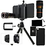 iPhone 6 / 6S Camera Lens Kit including an 8x Telephoto Lens / Fisheye Lens / 2 in 1 Macro Lens and Wide Angle Lens / Mini Tripod / Universal Phone Holder / Hard Case for Apple iPhone 6 / 6S / Velvet Phone Bag / CamKix Microfiber Cleaning Cloth – Awesome Accessories and Attachments for Your iPhone 6 / 6S Camera(black)
