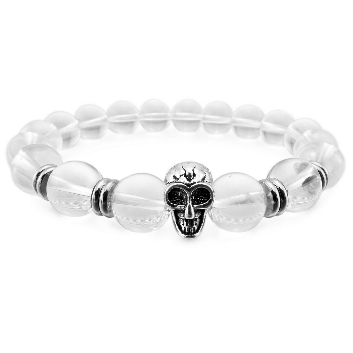 INBLUE Men, Women's 10mm Alloy Energy Bracelet Link Wrist Skull Bead Elastic INBLUE Jewelry mnb1398-10.0