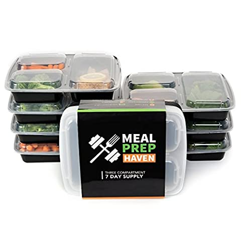 Meal Prep Haven 3 Compartment Food Containers with Airtight Lid, Bento Box, Fitness Lunch Box (3 Happy Meal)
