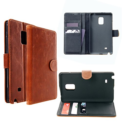 Note Edge Wallet Case, BEBONCOOL(TM) [Classic Brown] Leather Wallet Case with [Kickstand][ holder slot] feature for Samsung Galaxy -Classic Leather Brown