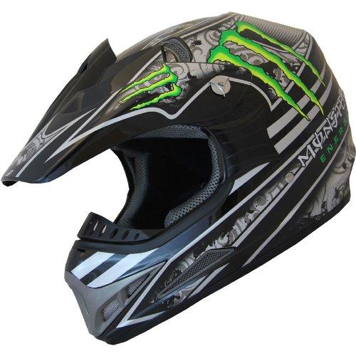 DOT ATV Motocross Helmet Combo 405_161 Green/Black+gloves+goggles (L)