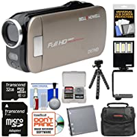 Bell & Howell Slice2 DV7HD 1080p HD Slim Video Camera Camcorder (Champagne) with 32GB Card + Battery + Case + Flex Tripod + LED Video Light + Kit