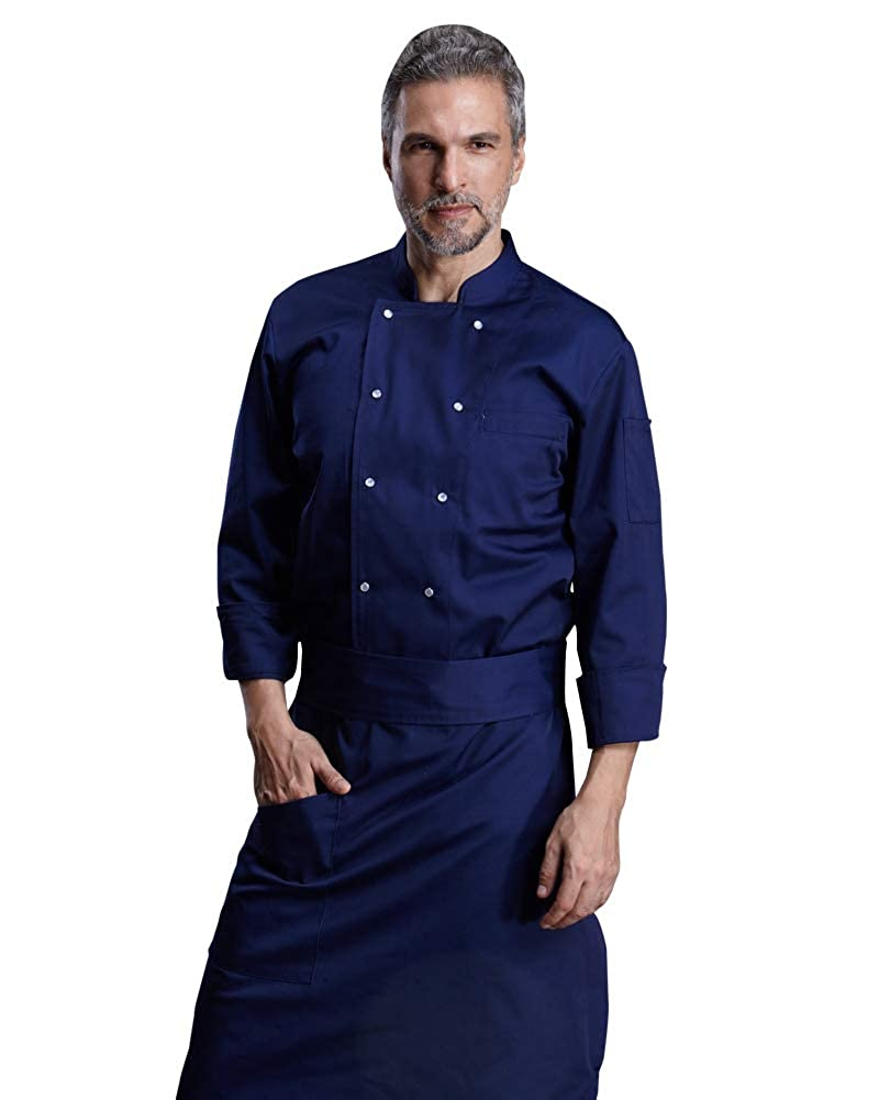 Mens Chef Coat Jacket Kitchen Long Sleeve Double-Breasted Kitchen Work Clothes