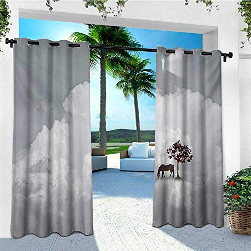 Fantasy, Outdoor Curtain Wall, Horse and Spring Tree in Clouds Keyhole Soft Dreamy Illustration, Fashions Drape W84 x L96 Inch Purplegrey White Redwood