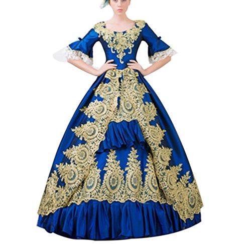 ROLECOS Womens Royal Retro Medieval Renaissance Dresses Lady Satin Masquerade Dress (Blue Masquerade Dress)