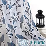 Cheap H.VERSAILTEX Rustic Birds Home Decoration Natural Linen Blended Semi Sheer Pair Curtains Breathable and Airy for Living Room/Bedroom Room, Nickel Grommet Top, 52 by 63 Inch, Blue