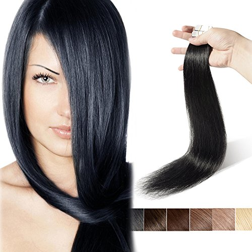 16 Inch Tape in Hair Extensions Real Human Hair Off Black Seamless Remy Straight Skin Weft Hair Extensions Professional Tape on (16'',30g/20Pcs,#1B)+ 10pcs Free Tapes (Wavy Tape In Real Hair Extensions)